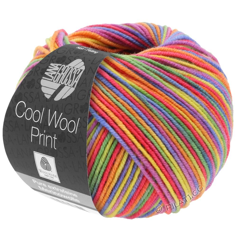 Lana Grossa COOL WOOL  Print | 703-Lila/Grün/Himbeer/Orange/Gelb/Blau