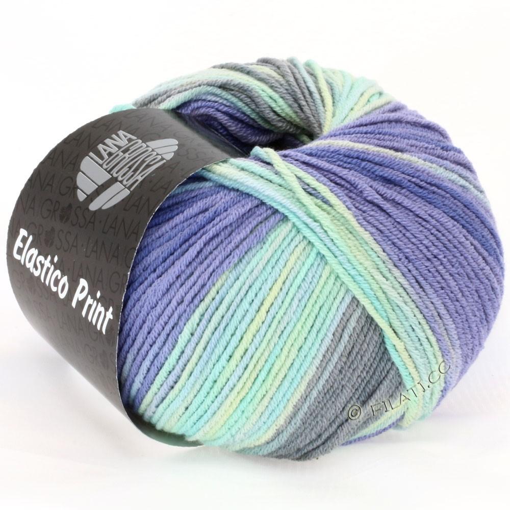 Lana Grossa ELASTICO Uni/Print | 512-Mint/Lavendel/Hell-/Dunkelgrau/Hellblau