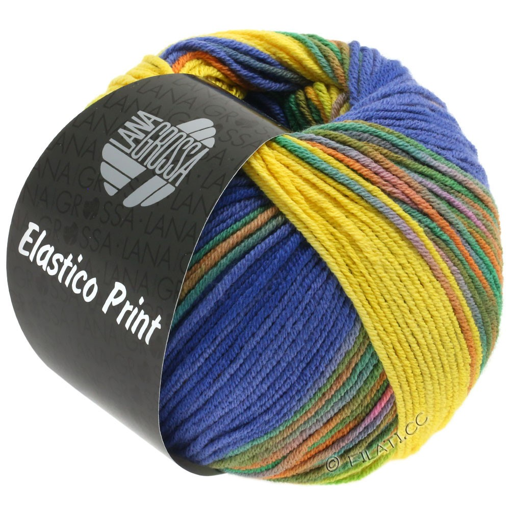 Lana Grossa ELASTICO Uni/Print | 523-Gelb/Blauviolett/Nachtblau/Grün/Orange