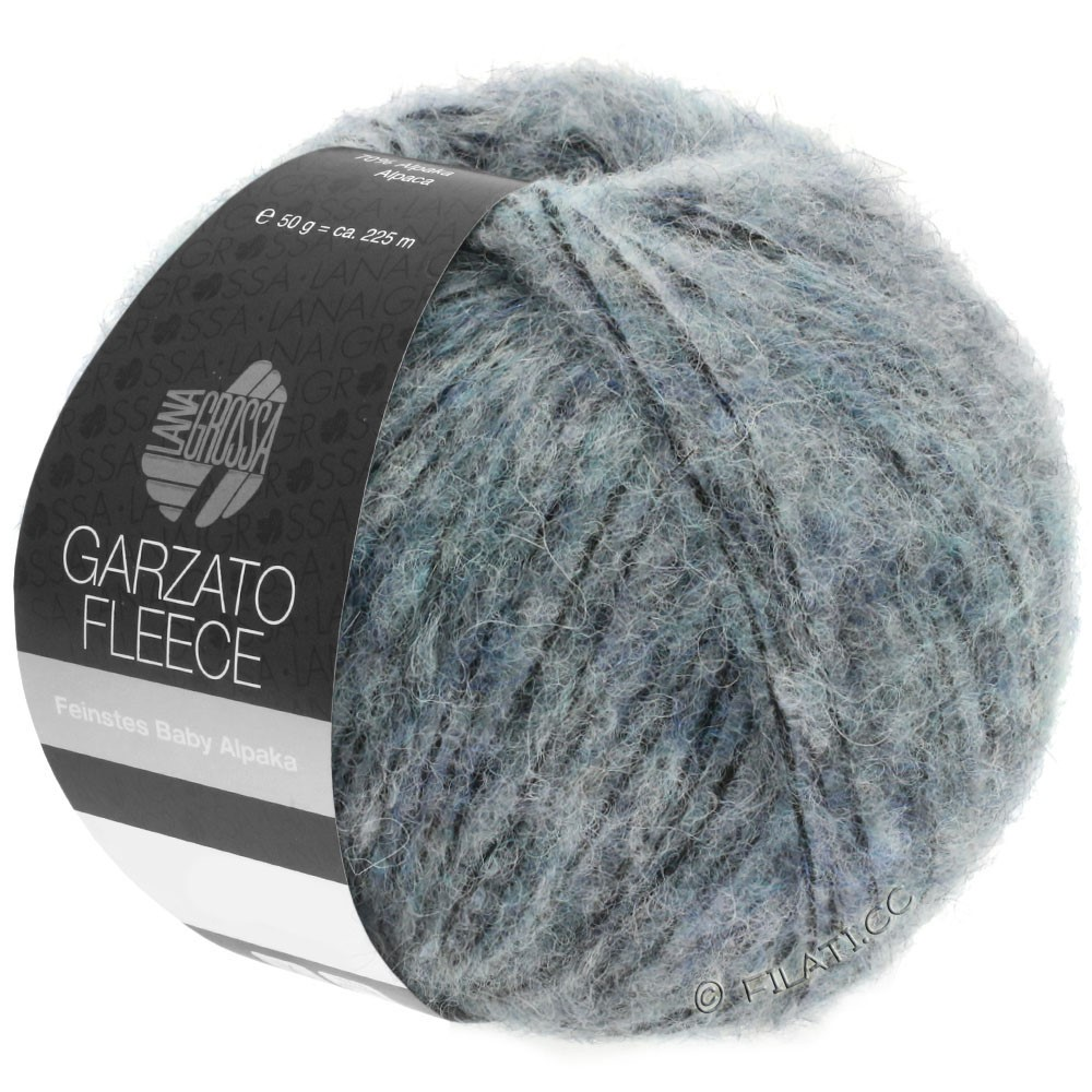 Lana Grossa GARZATO Fleece Uni/Print/Degradé | 032-Hellblau/Schwarz