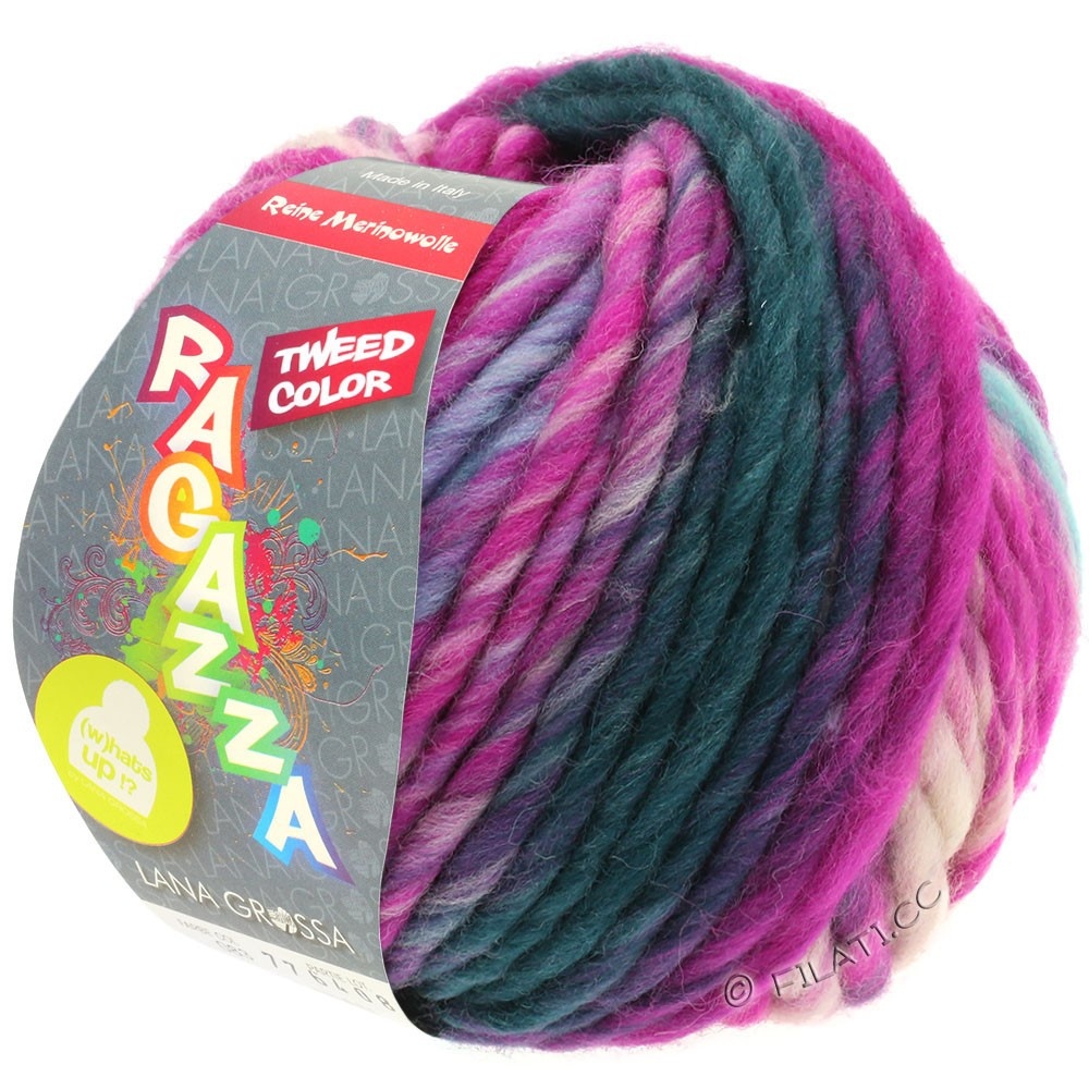 Lana Grossa LEI Tweed Color (Ragazza) | 401-Hellblau/Hellgrau/Jeans/Zyklam meliert