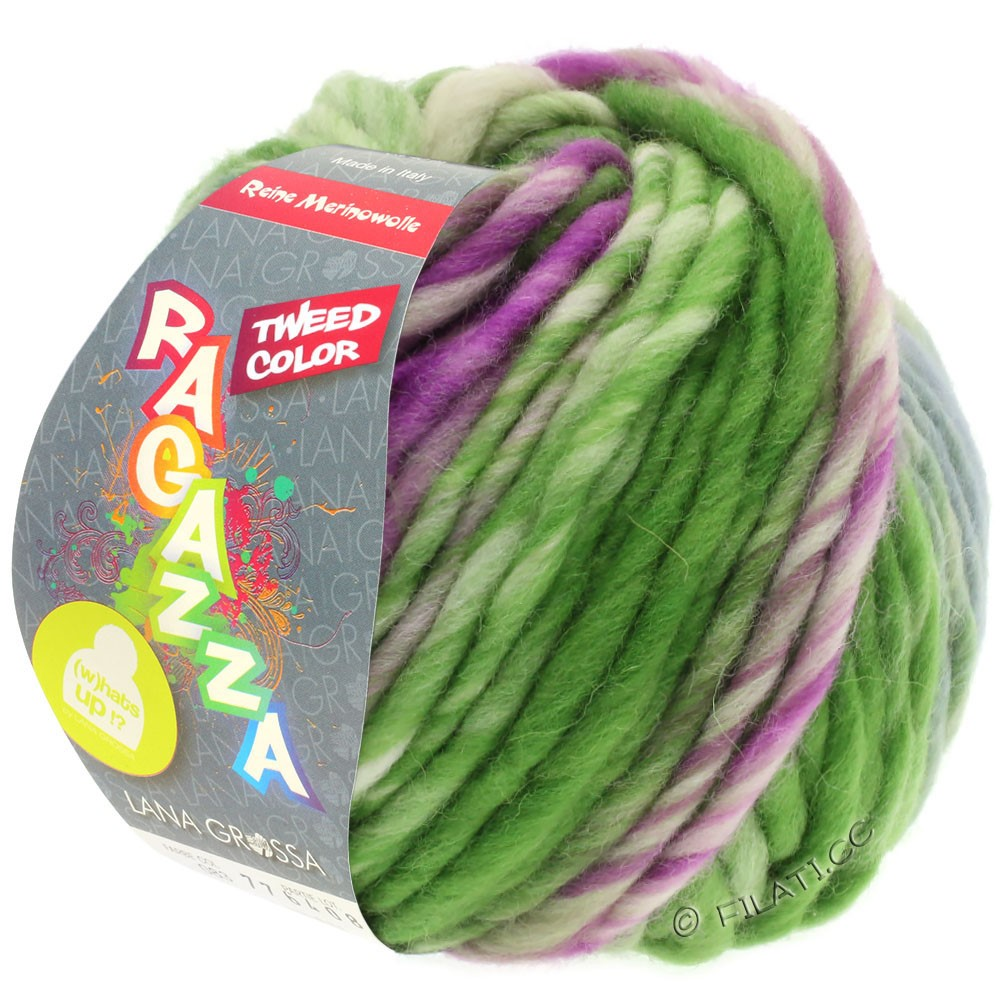 Lana Grossa LEI Tweed Color | 402-Blaugrau/Grün/Rotviolett meliert
