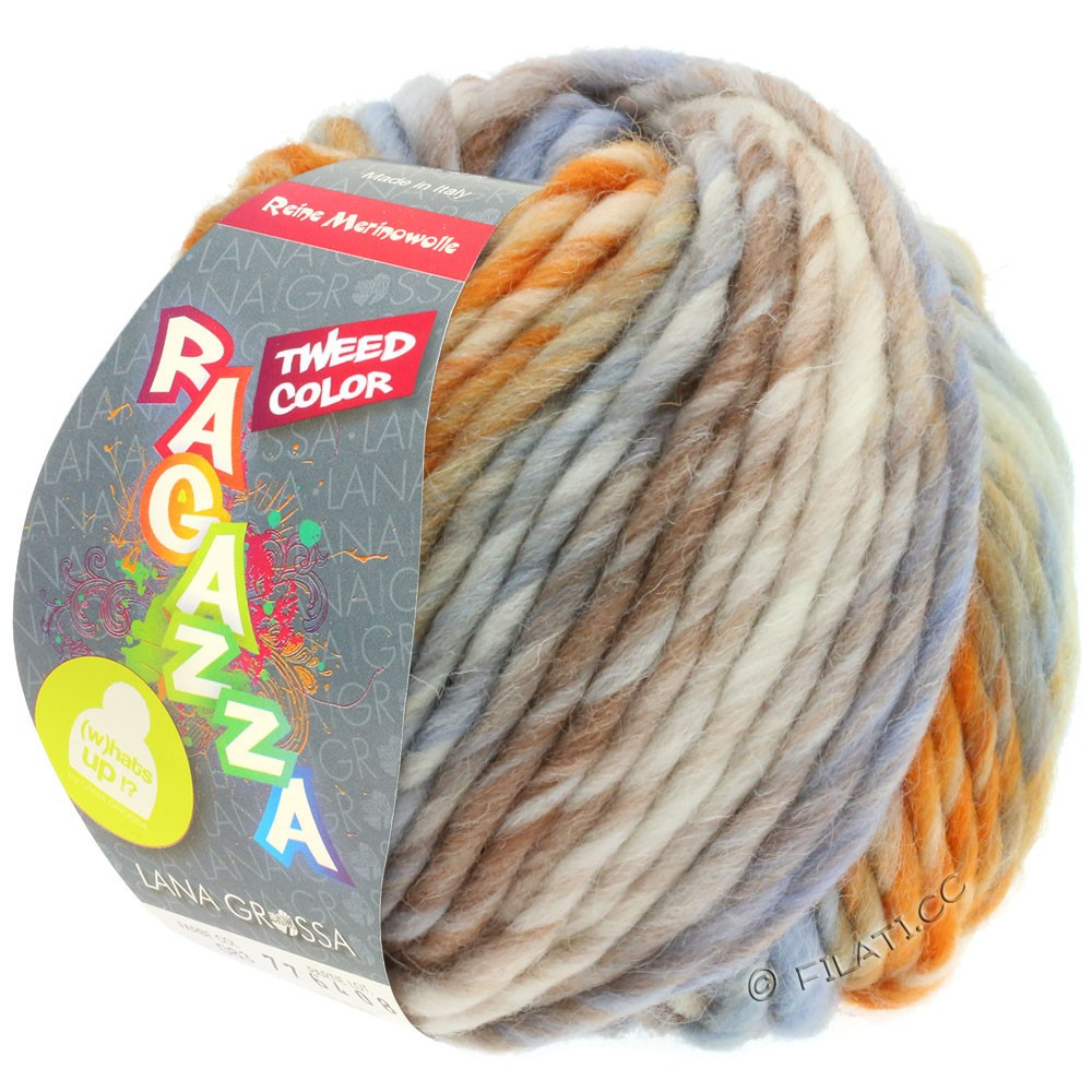 Lana Grossa LEI Tweed Color | 404-Natur/Hellblau/Braun/Orange meliert