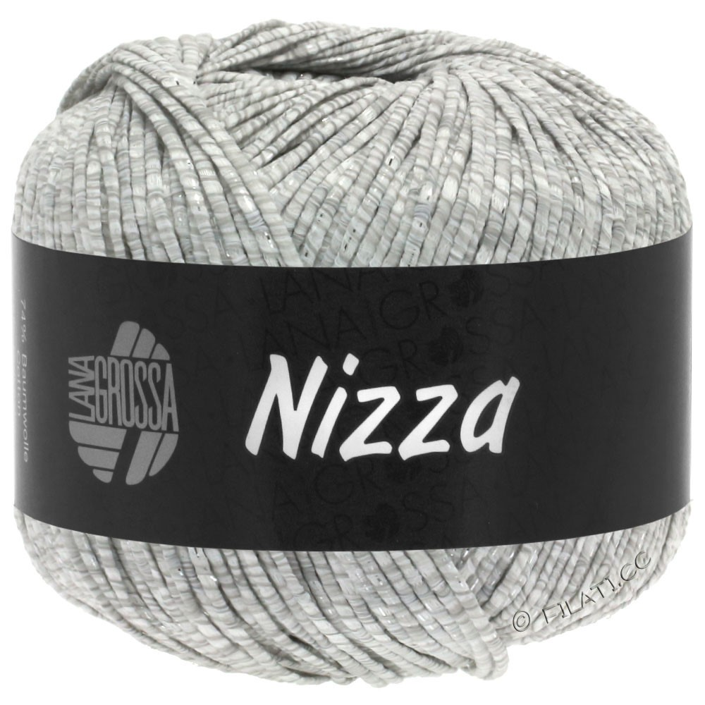 Lana Grossa NIZZA | 01-Weiß/Hellgrau/Silber