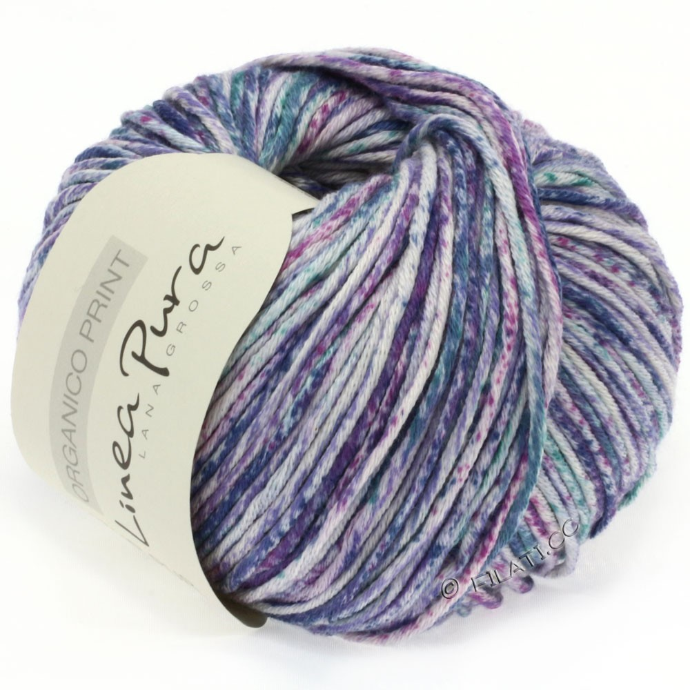 Lana Grossa ORGANICO Print (Linea Pura)   206-Natur/Violett/Petrol/Jeans