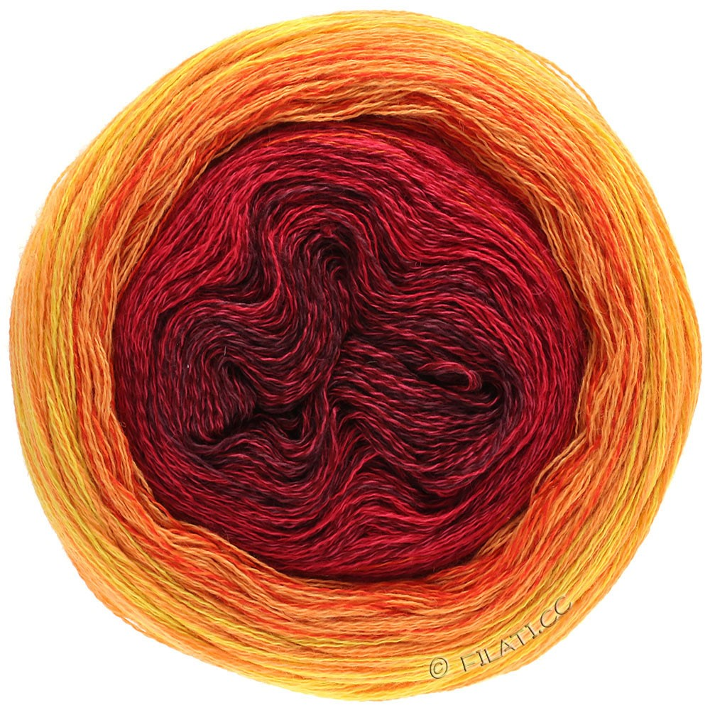 Lana Grossa SHADES OF MERINO COTTON | 603-Bordeaux/Kirschrot/Rot/Rotorange/Hellorange/Gelb