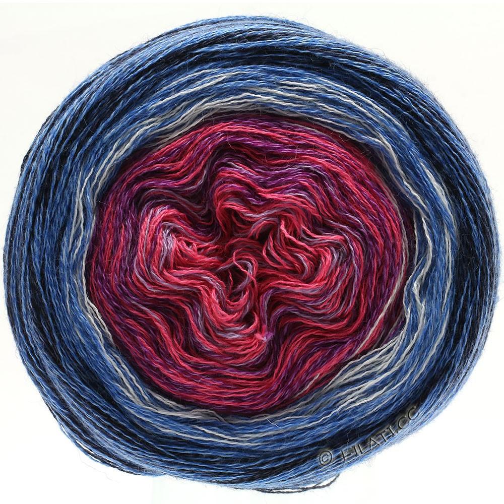 Lana Grossa SHADES OF MERINO COTTON | 604-Fliederpink/Violett/Weiß/Mittelblau/Blau/Schwarz
