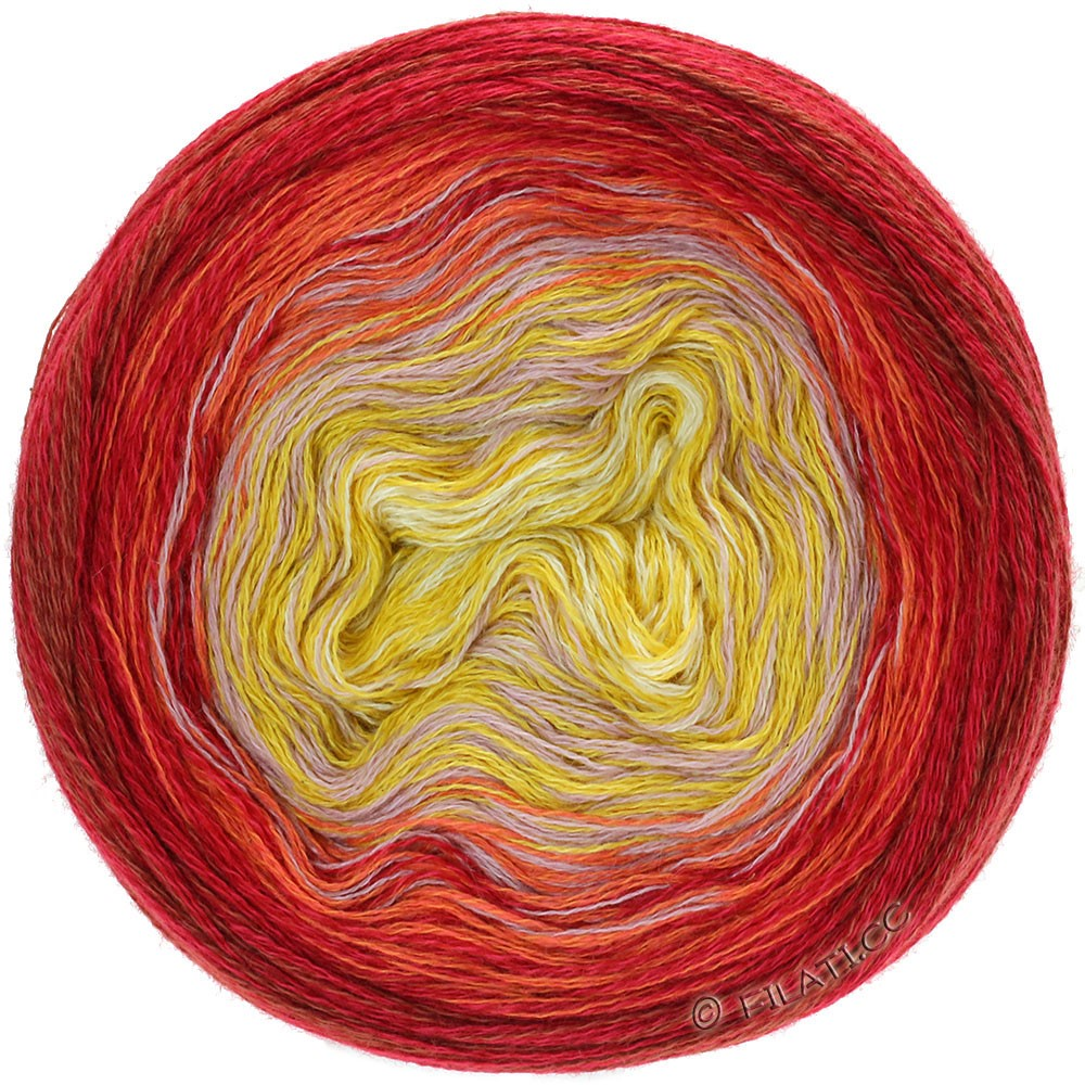 Lana Grossa SHADES OF MERINO COTTON | 607-Vanille/Maisgelb/Altrosa/Orange/Rot