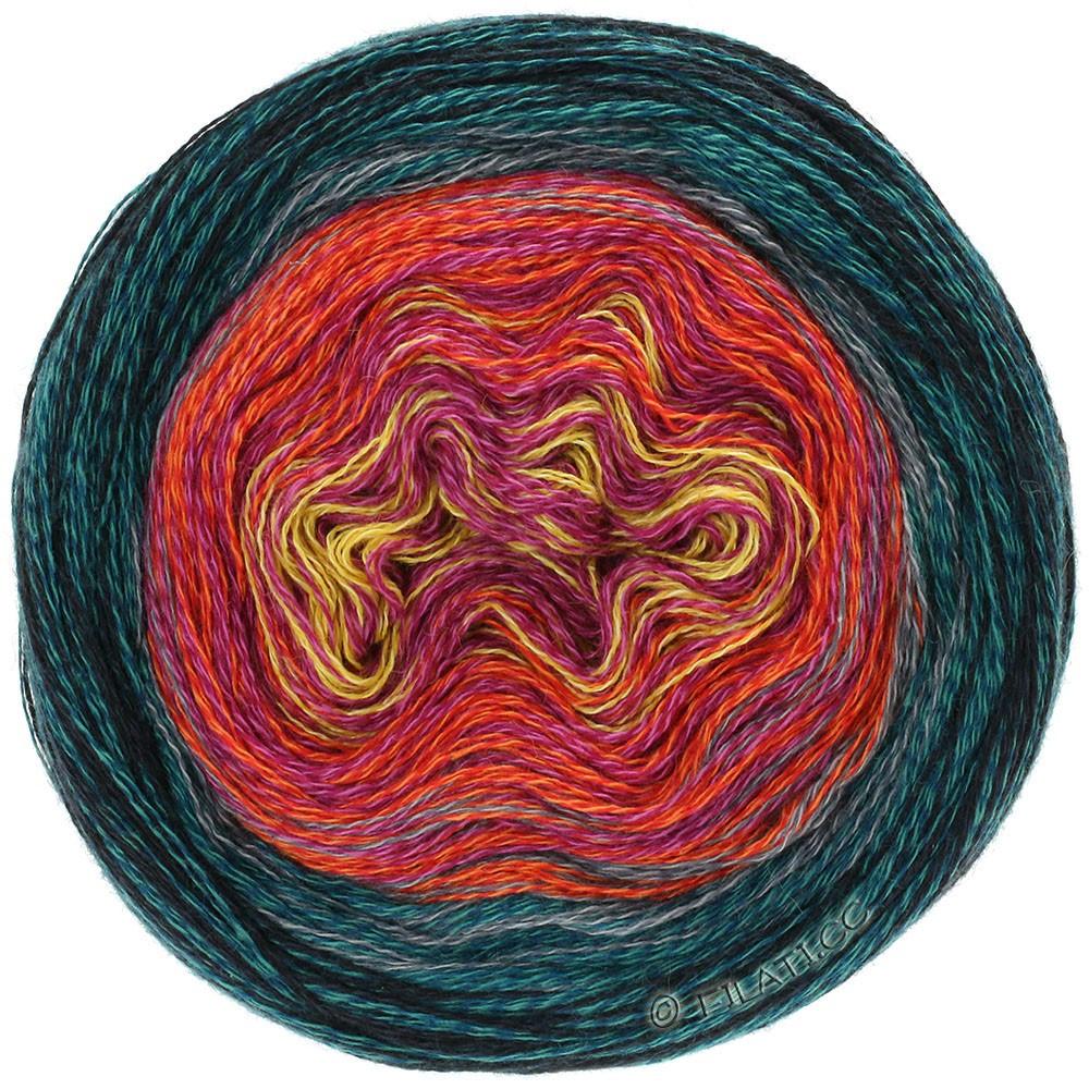 Lana Grossa SHADES OF MERINO COTTON | 608-Gelb/Pink/Tomatenrot/Stahlblau/Schwarz