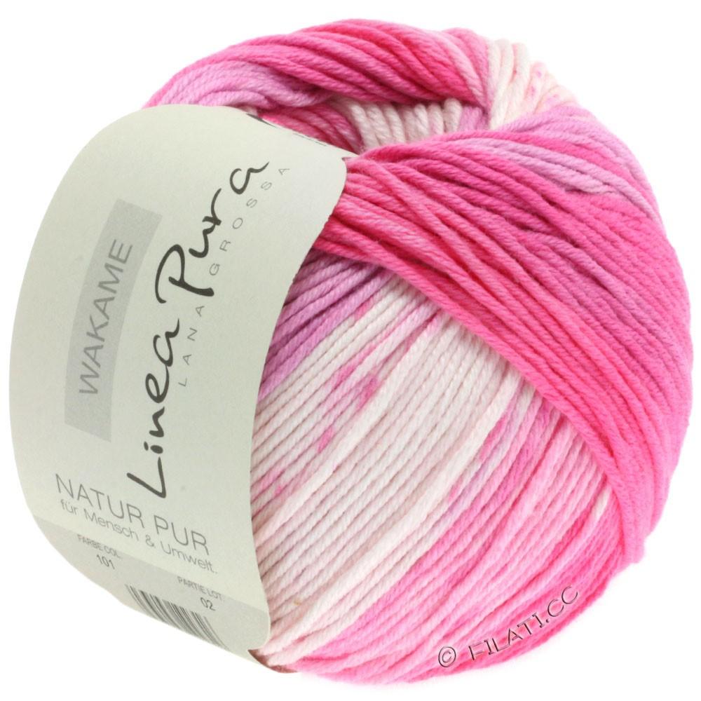 Lana Grossa WAKAME Uni/Print (Linea Pura) | 101-Weiß/Rosa/Pink