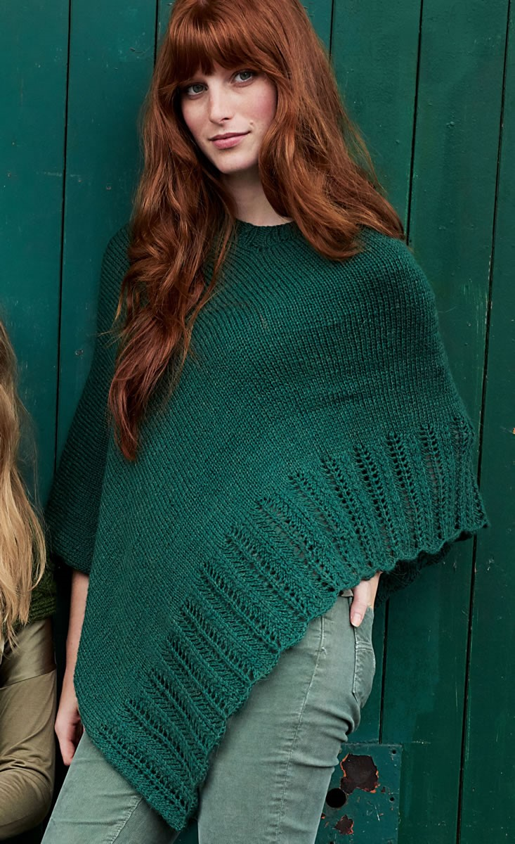 Lana Grossa PONCHO MIT LOCHBORDÜRE Cool Wool Alpaca