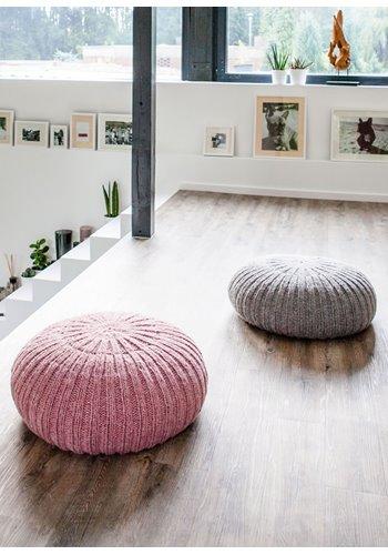 lana grossa boden pouf in rippen ambiente filati handstrick no 62 home modell 7 filati. Black Bedroom Furniture Sets. Home Design Ideas