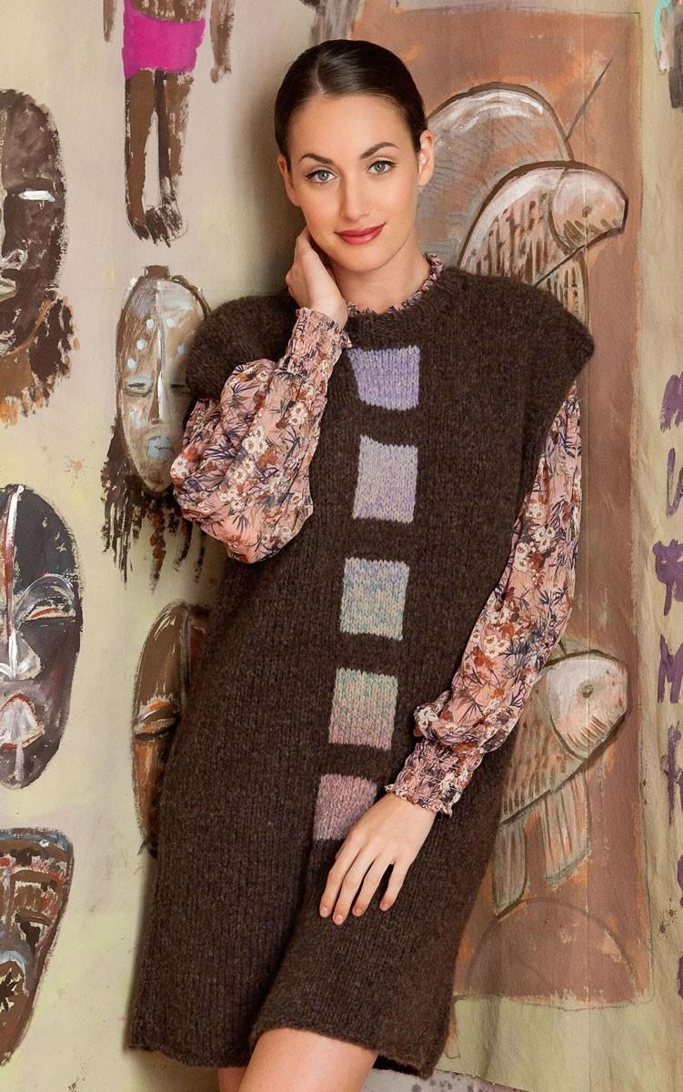 Lana Grossa LONGPULLOVER MIT EINSTRICKQUADRATEN Alpaca 400/Cashmere 16 Fine Degradè
