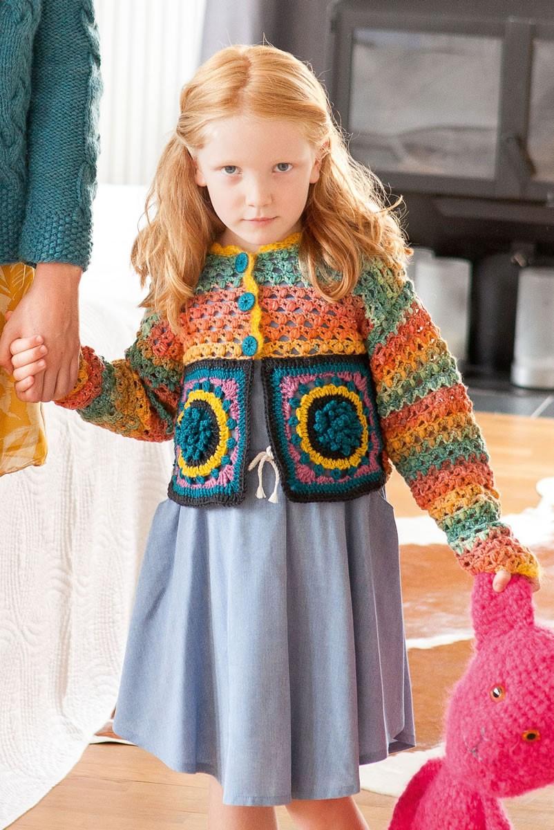 Lana Grossa KINDERJACKE MIT MOTIVEN UND NOPPENMUSTER Cool Wool Big Color/Uni/Melange/ Silkhair