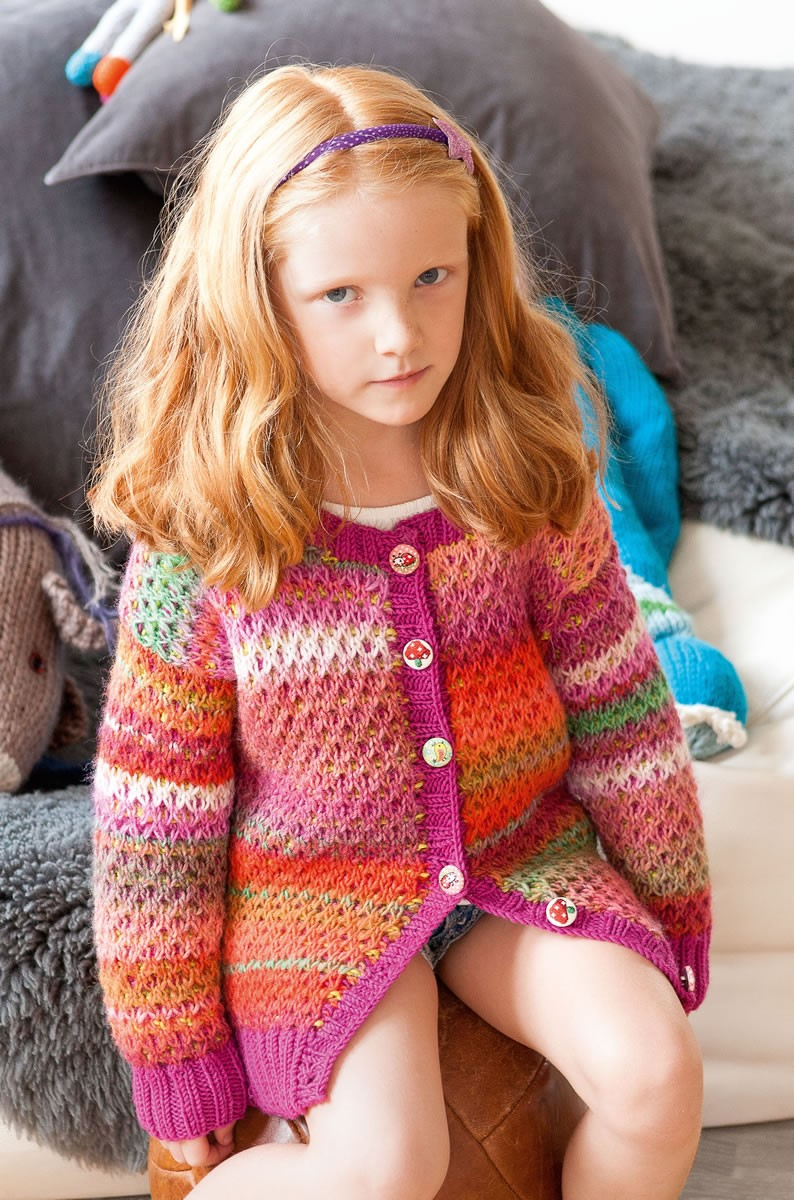Lana Grossa JACKE IM HEBEMASCHENMUSTER Cinque Multi/Cool Wool Big