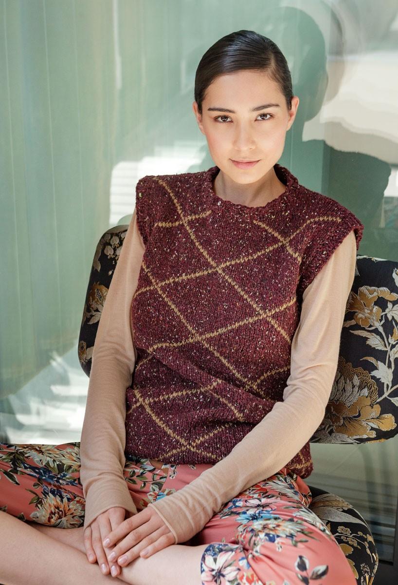 Lana Grossa PULLUNDER MIT AUFGESTICKTEN RAUTEN Royal Tweed/Alta Moda Alpaca