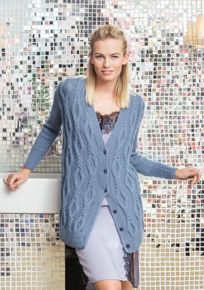 Lana Grossa JACKE MIT ZOPF-RAUTENMUSTER UND GLATT RECHTS Cool Wool Alpaca
