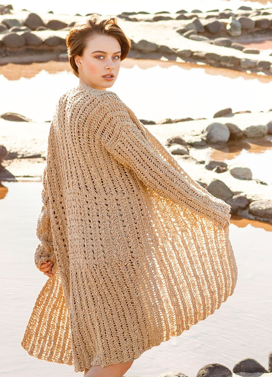 Lana Grossa LONGJACKE IM LOCHRIPPENMUSTER Cotton Style