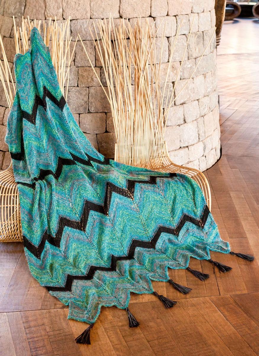 Lana Grossa DECKE IM ZACKENMUSTER Ecopuno/Silkhair Print/Linarte/Alcanto
