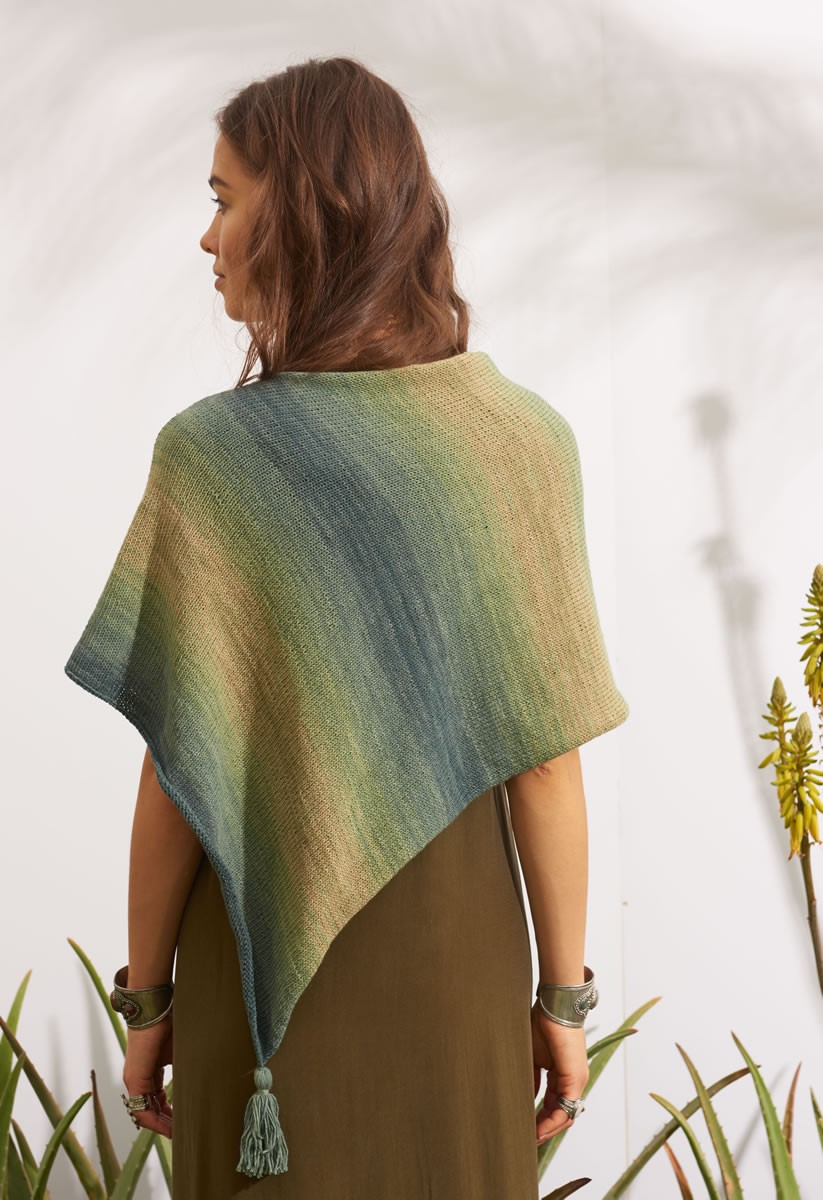 Lana Grossa PONCHO MIT QUASTEN  Summer Lace Degradé