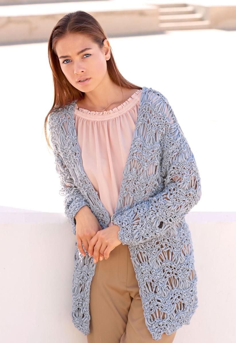 Lana Grossa JACKE IM WELLENMUSTER Cotton Style