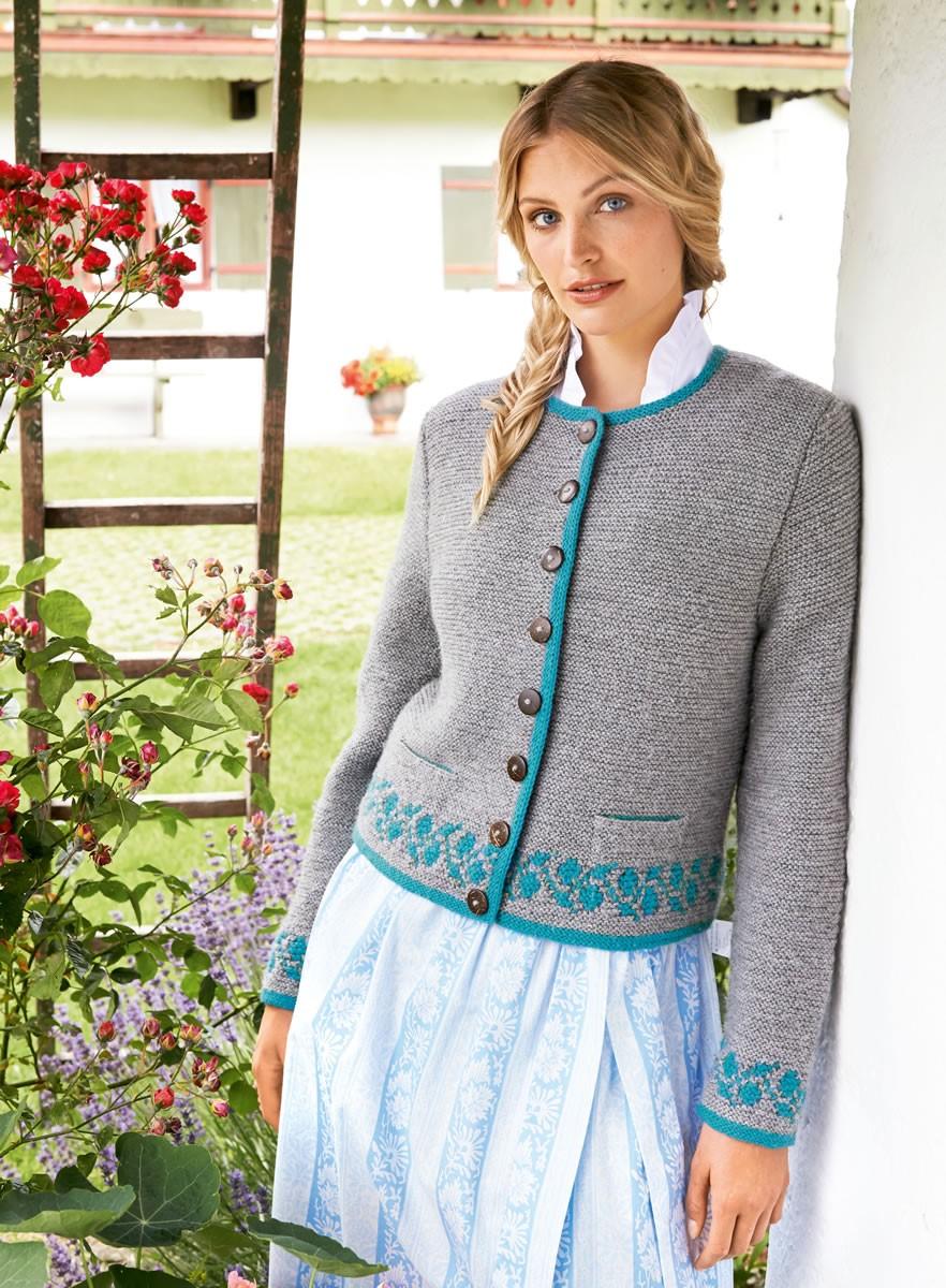 Lana Grossa DAMENJANKER MIT BLATTBORDÜREN  Alpina/Cool Wool Big