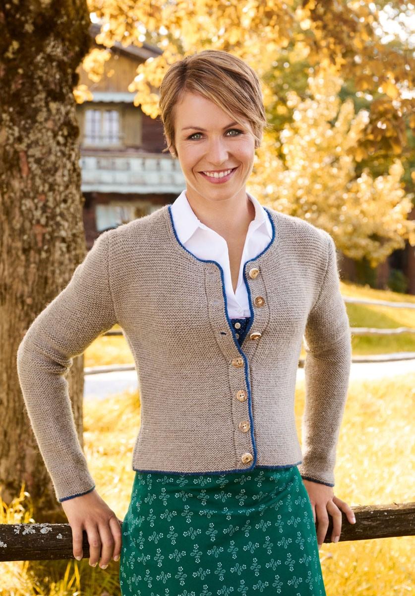 Lana Grossa DAMENJACKE MIT DUNKELBLAUER UMRANDUNG Alpina/Cool Wool Big