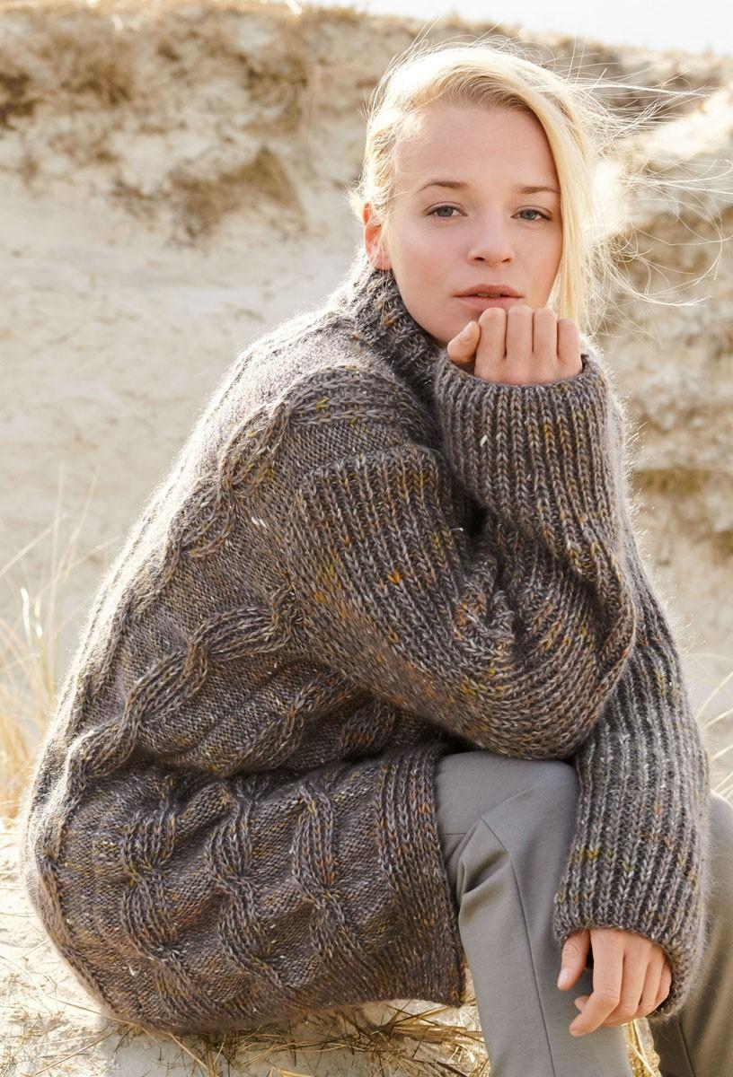 Lana Grossa JACKE MIT HALBPATENTZÖPFEN Only Tweed/Silkhair