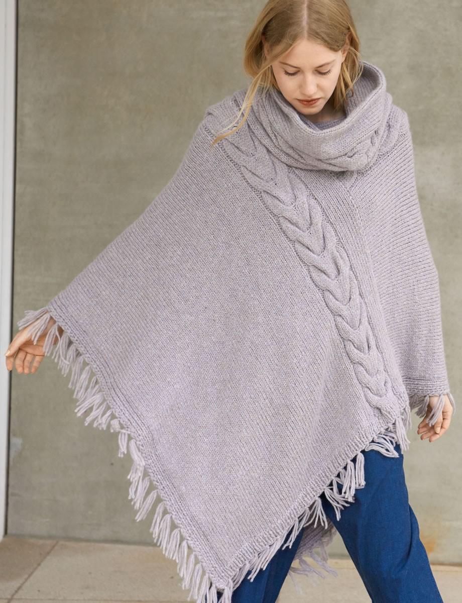 Lana Grossa ASYMMETRISCHER ZOPFPONCHO Cool Wool Alpaca