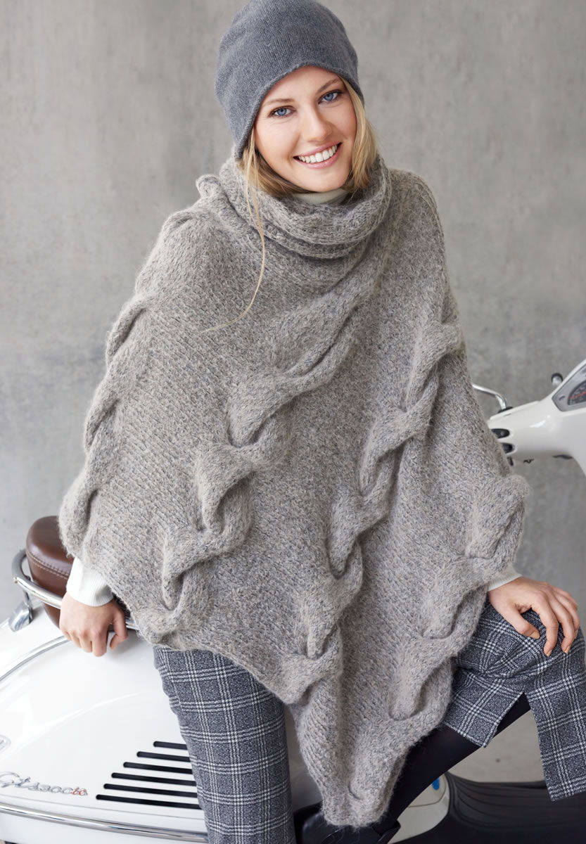 lana grossa poncho mit fluffigem zopf garzato fleece. Black Bedroom Furniture Sets. Home Design Ideas