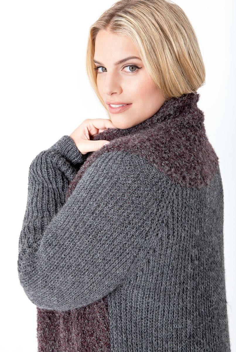 Lana Grossa MANTEL MIT HALBPATENTMUSTER UND GLATT RECHTS Cool Wool Alpaca/Tendenza